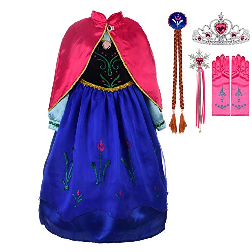 Lito Angels Girls Princess Snow Ice Queen Sister Costumes Halloween Birthday Fancy Party Dress Up with Bride Wig + Accessories Size 2-3T Blue110