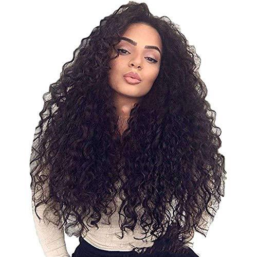 Yuyanshop Extensiones de pelo largo rizado negro africano cabello humano para mujeres negras trama doble cabeza completa largo (negro)