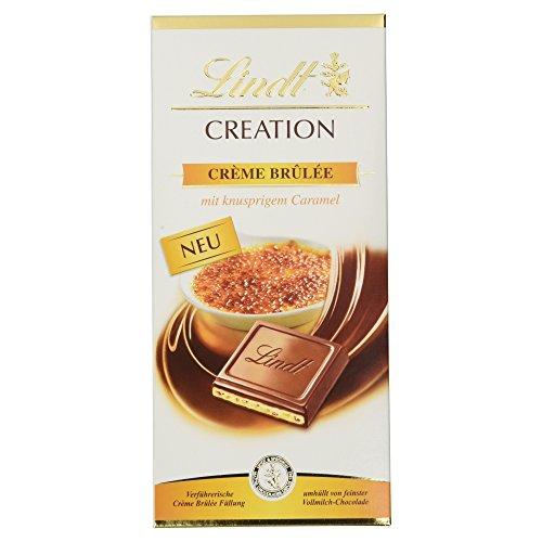 Lindt Creation Tafel Crème Brulée, verführerische Crème Brûlée Füllung und knusprigen Caramel- & Biskuitstückchen umhüllt von feinster Vollmilch Chocolade, 150g