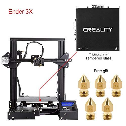 Comgrow Creality 3D DIY Imprimante 3D Ender-3 avec Plaque en Verre Trempé et Cinq Buses Format d'impression 220x220x250mm (Ender-3X)