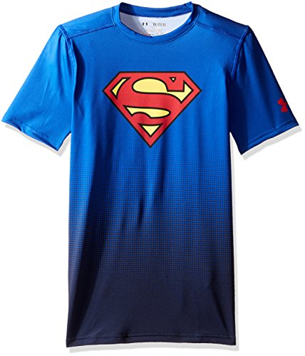 Under Armour Alter Ego DC Comics Fitted Baselayer Top für Jungen, Jungen, Royal (400)/Rot, X-Large