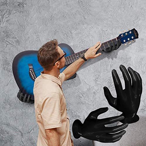 Suspensión de pared para guitarra de mano 3D, soporte para guitarra eléctrica soporte para suspensión de auriculares, soporte de gancho para suspensión de guitarra soporte de pared A-Pair blac