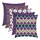 <span class='highlight'><span class='highlight'>Gardenista</span></span> Decorative Garden Cushion Covers 45x45 cm | 5 PACK | Waterproof Outdoor Cushion Cover Set | Soft Water-Resistant Fabric for Durability | Ultra Violet Printed | Moroccan Collection