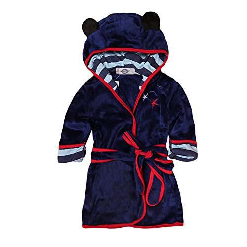 Baby Boys Girls Cartoon Bathrobe Soft Coral Fleece Infant Toddler Muticolored Sleepwear Outfit (Navy Blue, Size 110: 3-4T)