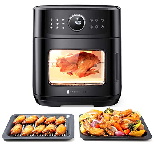 TaoTronics Air Fryer, 9 in 1 Air Fryer Oven with Dehydrate, Toast, Bake, Roast, Rotisserie, Pizza Function, 1700W Electric Toaster Oven with Digital Touch Screen, 6 Accessories & 50 Recipes