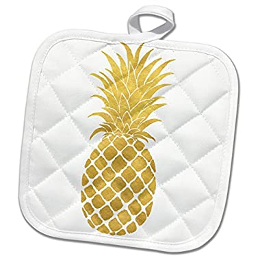 3dRose Picturing Gold Glitz Pineapple Potholder, 8 x 8
