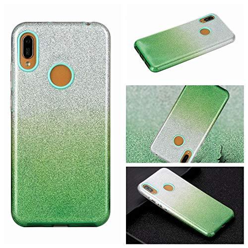 Nadoli für Samsung Galaxy A20S Gradient Glitzer Hülle,3 Schicht Glänzende Stoßfest Silikon Stoßdämpfung Transparent Hart Hybride Dünn Glitzer Schutzhülle Handyhülle