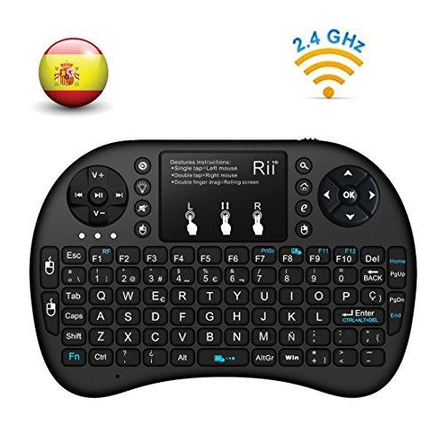 (Actualizado, Retroiluminado) Rii i8+ Mini teclado inalámbrico 2.4Ghz con touchpad integrado, retroiluminación Led y batería recargable de Litio-IO