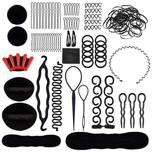 Lictin 24 pcs Accesorios de Peinado- Set de Diseño de Cabello, Accesorios de Cabello Trenzado Peinado Clip para DIY Pelo para Niñas Mujeres