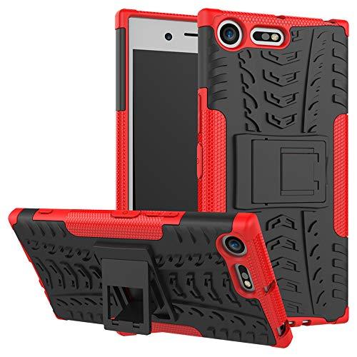 LiuShan Sony XZ Premium Hülle, Dual Layer Hybrid Handyhülle Drop Resistance Handys Schutz Hülle mit Ständer für Sony Xperia XZ Premium Smartphone (mit 4in1 Geschenk verpackt),Rot