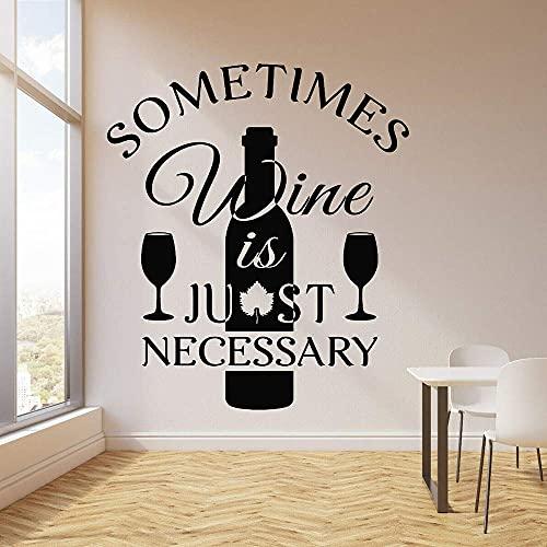 Citas De Vino, Calcomanía De Vinilo Para Pared, Bar, Restaurante, Logotipo, Divertidas Citas De Cocina, Vino, Decoración Del Hogar, Botella De Vino, Arte, Mural, 67X57Cm