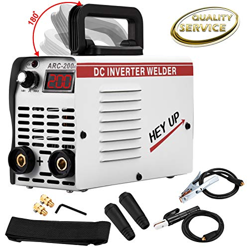Arc Welder 110V 130Amp MMA Stick Welding Machine IGBT Inverter DC Welder LCD Display for Beginner with Electrode Holder Clamp