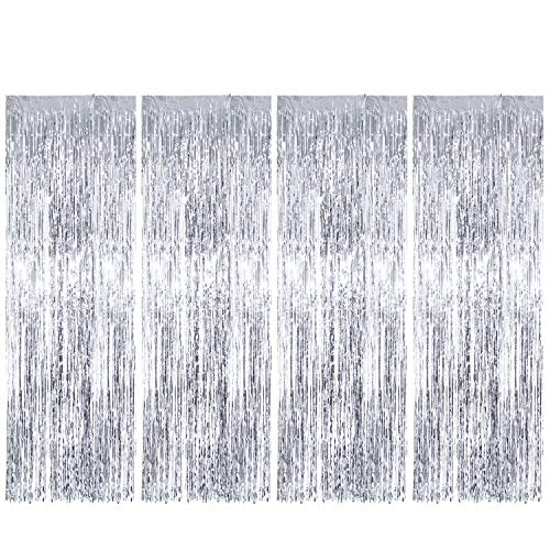 ENTHUR Foil Curtains 1 x 2.5m × 4 Pack Metallic Fringe Curtains Shimmer Curtain for Birthday Wedding Party Halloween Christmas Decorations (Silver)