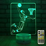 FlyonSea Basketball Light,Basketball Lamp 7 Colors Change Remote Control with Timer Kids Night Light Optical Illusion Lamps for Kids Lamp As a Gift Ideas for Boys or Kids