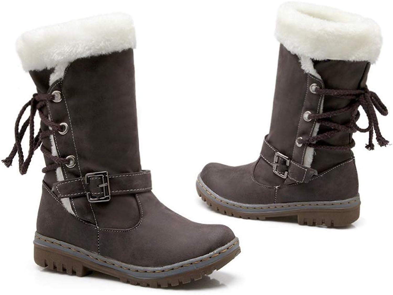 Hoxekle Winter Boots Women Fashion Snow Boots Long Snow Boots Women Platform Mid Calf Boot Lace Up Buckle shoes