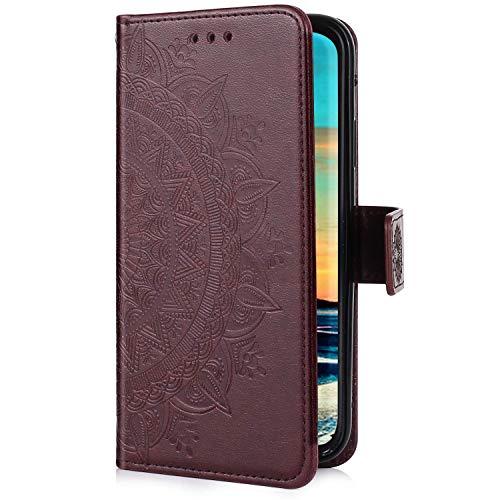 Uposao Kompatibel mit Huawei P40 Lite Hülle Leder Schutzhülle Brieftasche Handyhülle Mandala Blumen Lederhülle Klapphülle Flip Case Bookstyle Wallet Tasche Magnet Kartenfächer,Braun