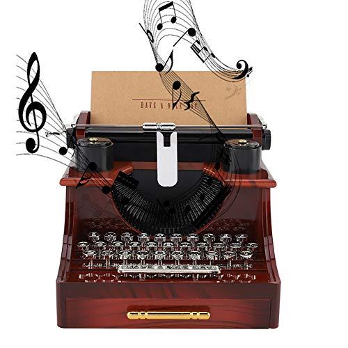 Cafopgrill Carillon portagioie Meccanico Meccanico Stile Macchina da Scrivere Vintage con cassetto Regali Musicali Vintage in Legno per Regali di San Valentino