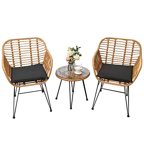 Three Sets of Balcony Tables and Chairs, Rattan Leisure Chairs, Small Tea Table Combination, Outdoor Terrace Tables and Chairs in Nordic Courtyard