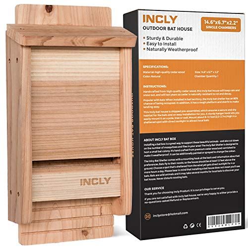 "INCLY Bat House Kit for Outdoors 14.6""x6.7""x2.2"" Shelter Box Roosting Single Chamber Dark Natural Cedar Wood, Pre-Finished Easy to Install"