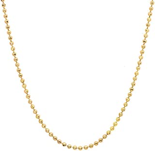 14K Gold Diamond-Cut 1mm Bead Chain Bracelet