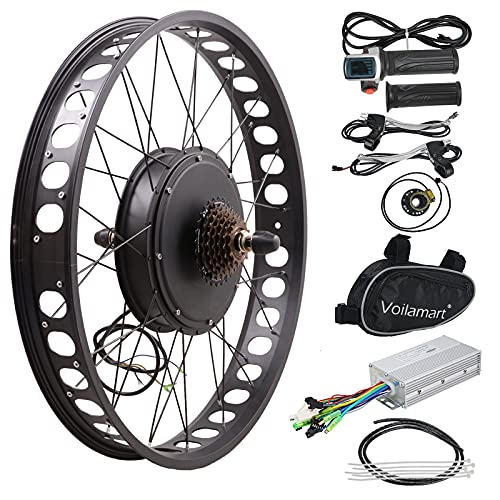 Voilamart Electric Bicycle Kit 26' Rear Wheel with 3.23' Width Rim 48V 1000W E-Bike Conversion Kit, Cycling Hub Motor with Intelligent Controller and PAS System for Road Bike