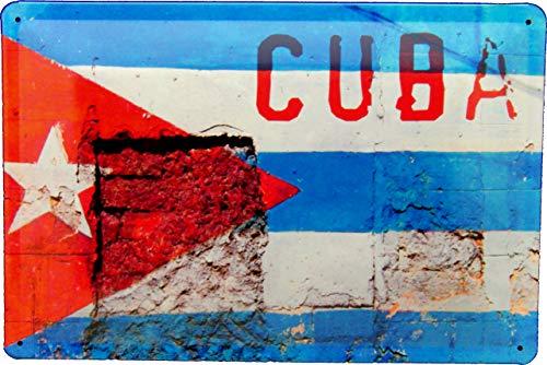 Tin Sign Blechschild 20x30 Cuba National Flagge auf Mauer Used Erscheinungsbild Design Karibik Urlaub Ferien Reisen Mexico Havanna Kuba