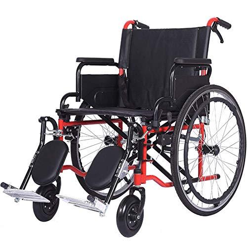 AFDK Silla de ruedas autopropulsada Asiento de 51 cm plegable Dispositivo de movilidad ligero, manual, de acero Silla de ruedas de transporte compacta con frenos de mano y reposapiernas para personas