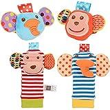 Faironly 2pcs Baby Handgelenkrassel und 2pcs Fußrasseln Finder Socken-Set Entwicklung weiche Tier-Rasseln Kleinkind Baby Spielzeug – AFFE & Elefant Individuelle Modelle