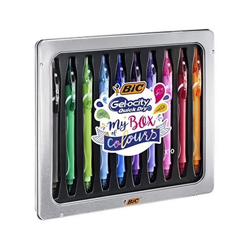 BIC My Box of Colours Gel-ocity Quick Dry bolígrafos de Gel de punta media (0,7mm) - Varios colores, Caja Metálica de Regalo con 10Uds.