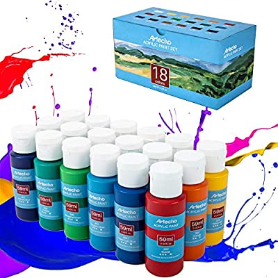 ARTECHO Acrylic Paint Set, Perfect for Canvas, Wood, Fabric, Leather, Cardboard, Paper, MDF and Crafts