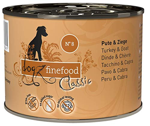 dogz finefood Hundefutter nass - N° 8 Pute & Ziege - Feinkost Nassfutter für Hunde & Welpen - getreidefrei & zuckerfrei - hoher Fleischanteil, 6 x 200 g Dose