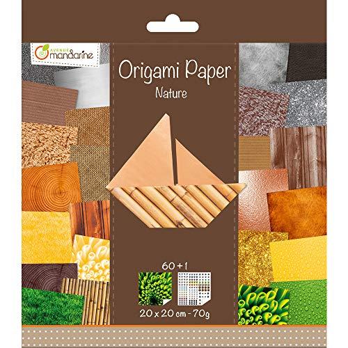Avenue Mandarine 52503MD Origami color Papier (quadratisch, 20 x 20 cm, mit Faltanleitung, 60 verschiedenen Blätter und 1 Blatt mit Augenset, Natur)