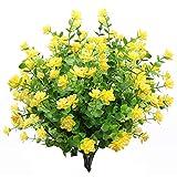 GKONGU flor artificial 4 piezas ramo de eucalipto plantas verdes, flores falsas de eucalipto resistente a los rayos UV para interior al aire libre hogar oficina jardín decoración de la boda (amarillo)