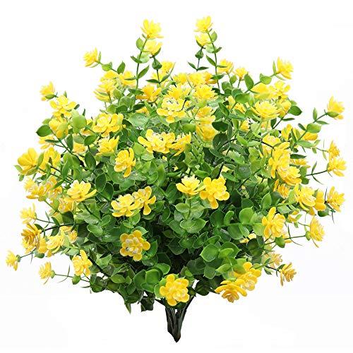 GKONGU Fiore Artificiale 4 Pezzi Bouquet di eucalipto Piante Verde, Fiori Finti di eucalipto Resistente ai Raggi UV per Interni Esterni Home Office Giardino Decorazione di Nozze (Giallo)