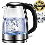 Wasserkocher, DECEN 2200W Wasserkocher Glas mit Edelstahlfilter, 1,7 Liters Borosilikatglas Teekocher mit LED-Beleuchtung, BPA Frei, Trockenlaufschutz