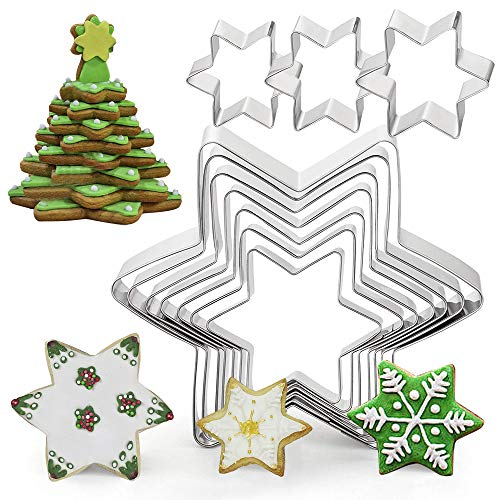 10 Pcs Hexagon Star Cookie Cutters, XCOZU Stainless Steel Cookie Cutters Shapes, Christmas Cookie Cutter Set for Xmas Tree Kids Biscuits Pastry Fondant Cake Decorating Tower(Non-Stick)