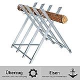 AUFUN - Cavalletto per sega, 83 x 83 x 79 cm, in acciaio, pieghevole, portata fino a 100 kg, per tagliare il legno