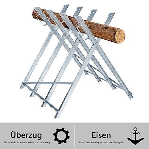 AUFUN 83x83x79cm Sägebock Stahl Zusammenfaltbar bis 100kg belastbar Holzschneidebock für Sägegestell Holzsägebock Säge Kettensägebock