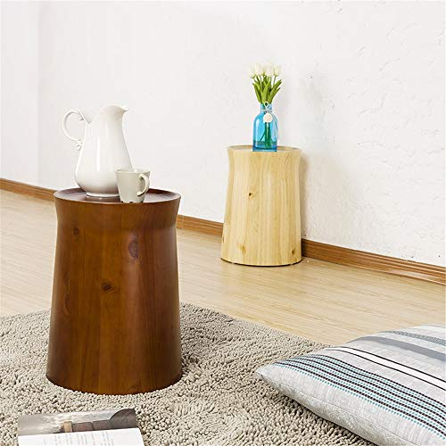 CaoDquan Modern Natural Rustic Round Wooden Tree Stump Accent Side End Table Home Indoor Use Bar Coffee Food Drinks Serving Side Table Accent Table (Color : Natural, Size : 31.5x33x45cm)