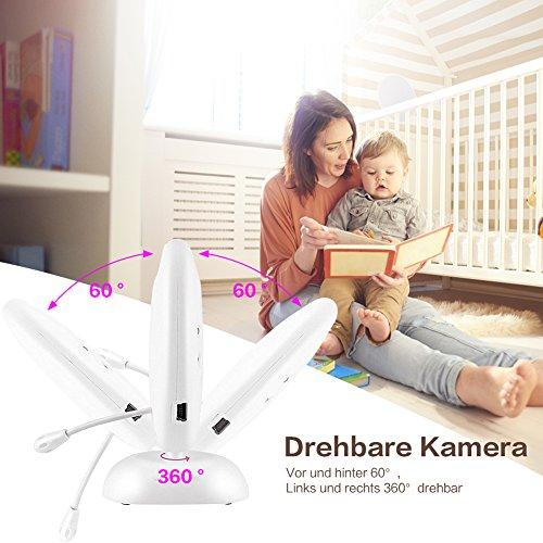 video Babyphone mit Kamera COSANSYS Wireless Video baby Monitor 2 Zoll 2.4GHz Temperatursensor Schlaflieder Nachtsicht Gegensprechfunktion Drehbare Kamera - 5