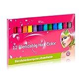 Crayones para el cabello para niñas Crayones para el cabello lavables para niños en 12 colores,...
