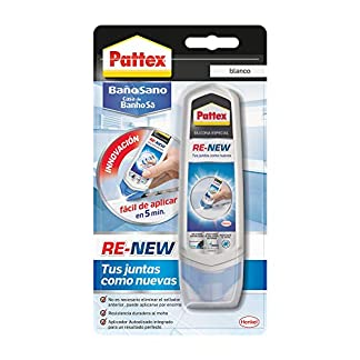 Pattex Baño Sano RE-NEW, silicona blanca para cocina y baño, silicona antimoho fácil de aplicar, sellador de juntas impermeable y resistente al moho, 1×100 ml