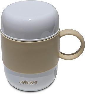 Taza de café Thermos, Taza con aislamiento al vacío de acero inoxidable de doble pared con tapa y mango - Taza a prueba de fugas 100% para viajes o uso en el hogar (Blanco)