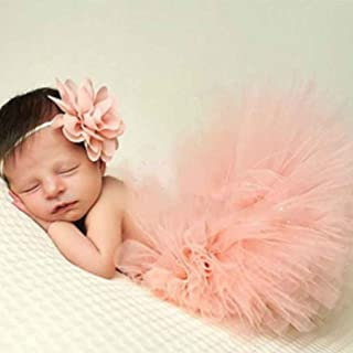 Gankmachine Cute Princess Newborn Fotografia Props Infante costume dell'attrezzatura con Girl Dress Summer Flower fascia d...