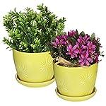 mygift-set-of-2-yellow-sunburst-design-ceramic-flower-planter-potsdecorative-plant-containers-with-saucers