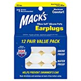 Mack's Pillow Soft Silicone Earplugs - 12 Pair, The Original Moldable...