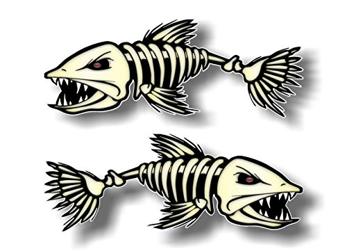 2-3'x8' Skeleton Fish Vinyl Sticker Decals for Fishing Tacklebox Lures Crankbait Reels Decal Stickers ((2) 3'x 8')
