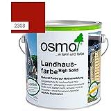 OSMO Landhausfarbe High Solid, hochdeckende Holzfarbe, 2308 nordisch-rot, Sondergröße 1 Liter