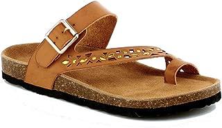 Womens Slippers Slip On Flip Flops T-Strap Cork Sole Casual Flat Slides Sandals