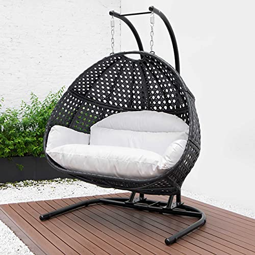 Harrier Hanging Egg Chair Swing – 2 Sizes   Indoor Outdoor Patio Garden Chair – Freestanding Rattan Egg Chair With Stand (Double Seat Only, Black/White)